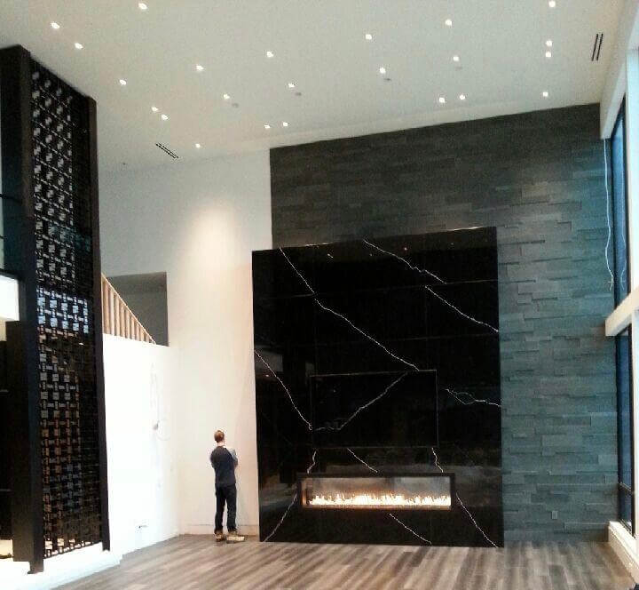 Electric Firebox in DSP Thin Marble Fireplace Niro Marquina, Black Marble