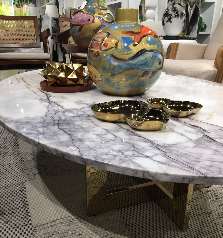 Oval table made with DesignerStone Panels light weight Marble