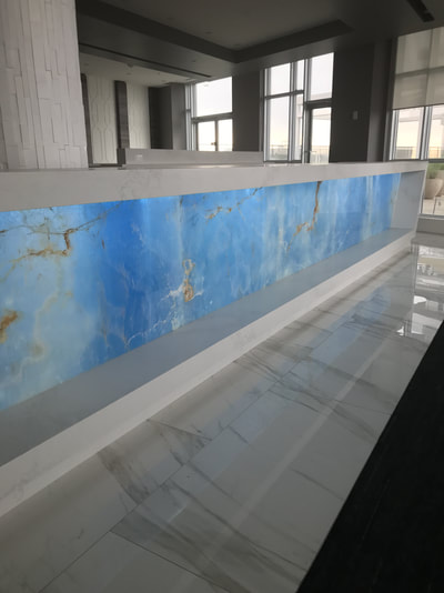 Commercial Bar blue onyx backlit (DSP Thin Onyx)
