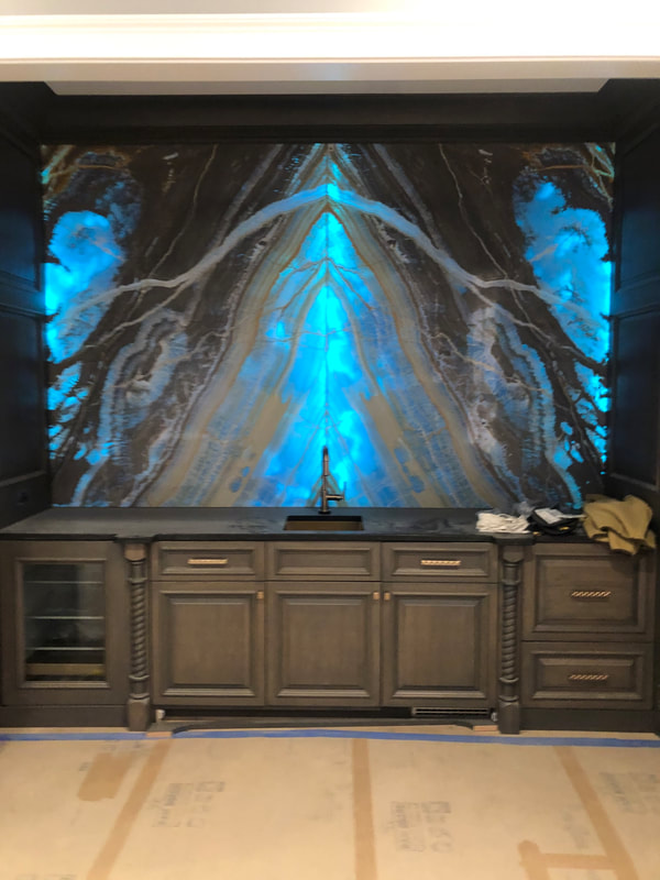 Designer Stone Panels Blue Onyx Backsplash