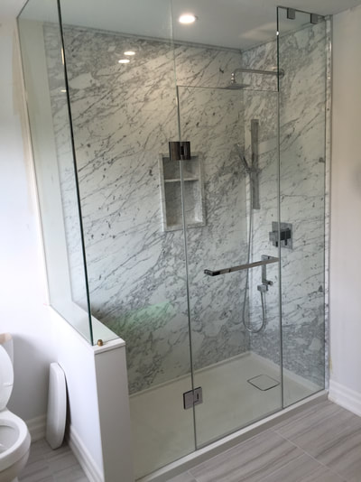 Narrow Shower (DSP Thin Marble) Carrara