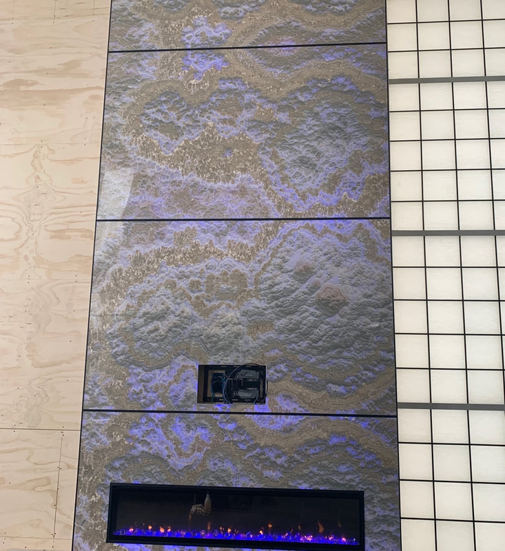 Designer Stone Panels Prefab Fireplace 20 feet
