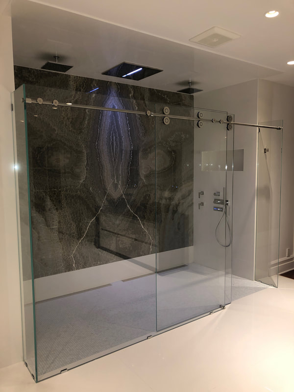Designer Stone Panels Shower, Onyx, Thin Stone
