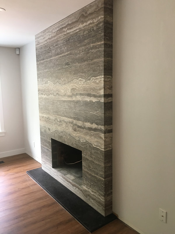 Fireplace Silver Travertine (DSP Thin Stone)