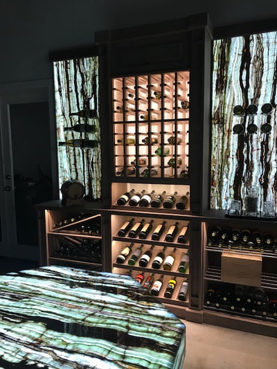 Wine Cellar backlit Bamboo Onyx (DSP Thin Onyx)