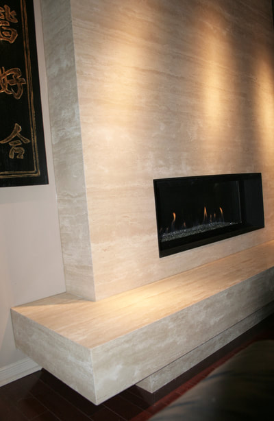 Fireplace (DSP Thin Stone) Ivory Travertine