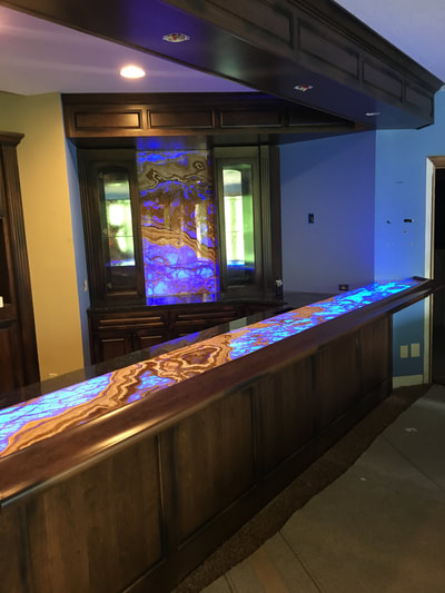 Blue Onyx bar - LED back lighting