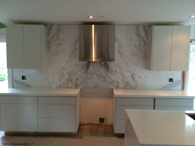 Kitchen splash Volakas white marble (DSP Thin Marble)