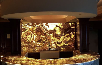 Bar Onyx, Tiger Onyx back lit, DSP Thin Onyx, Designer Stone Panels